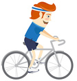 Hipster funny man cycling Flat style vector image