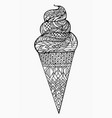 Black and white of ice cream cone with boho vector image