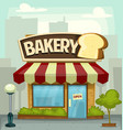 cartoon bakery shop building small business banner vector image