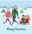 family winter holidays parents with kids sledding vector image