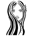 girl with long hair and big eyes vector image