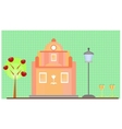 Pink House on green background vector image