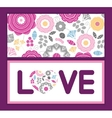 vibrant floral scaterred love text frame pattern vector image