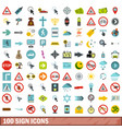 100 sign icons set flat style vector image