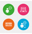 byod signs human with notebook and smartphone vector image