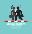 businessmen get accidents on sidewalk symbol vector image
