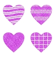 Valentine heart with patterns set vector image