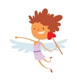 Baby cupid angel wings box with wedding ring vector image