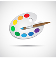 Modern art palette with brush and eight colors vector image