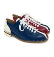 Bowling shoes red and blue vector image