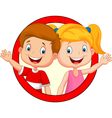 Cute children waving hand vector image