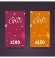 Gift card templates with stars on background vector image