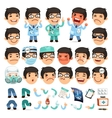 Set of Cartoon Doctor Character for Your Design or vector image