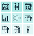 set of 9 administration icons includes system vector image