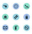 set of simple airport icons vector image