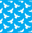 white dove seamless pattern pigeons flying vector image