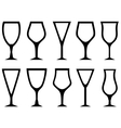 isolated white alcohol glasses set vector image
