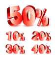 Collection of Discount Numbers vector image vector image
