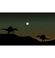 Spinosaurus in hills scenry silhouette vector image