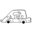 Cartoon man driving car vector image