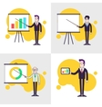 Modern businessmen set Flipchart with colored bar vector image
