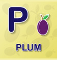 plum alphabet background vector image