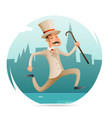 running gentleman happy victorian hurry wealthy vector image