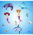 Set of cartoon underwater inhabitants mermaids vector image