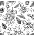 Christmas botanical seamless pattern Hand drawn vector image