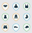 dress icons set collection of trunks cloth half vector image