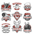set of meat store fresh meat labels quality vector image