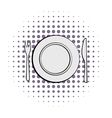 Cutlery set with plate comics vector image