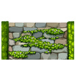 Seamless fence design with brick wall and plant vector image