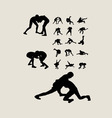 Wrestlers fighting Silhouettes vector image