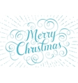 Blue lettering Merry Christmas for greeting card vector image
