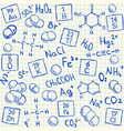 Chemical doodles on school squared paper vector image