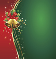 christmas background with bells ribbons stars vector image