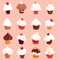 Cupcakes - seamless background vector image