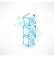 Kids cubes grunge icon vector image