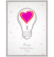 Light bulb with heart valentine Day background vector image