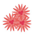 three pink flowers icon image vector image