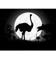 Ostrich silhouettes with giant moon background vector image vector image