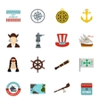 Columbus Day icons set flat style vector image