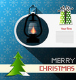 Merry Christmas Card with Xmas Tree Gas Lamp and vector image