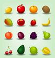 cartoon realistic fruit cherry apple game icon vector image
