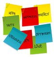 Paper notes set with positive words vector image vector image
