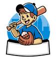 baseball kid vector image vector image