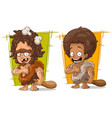 cartoon prehistoric man character set vector image