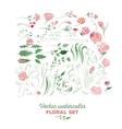 Floral set - watercolor vector image