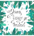 Hand-drawn lettering and floral frame vector image